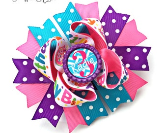 Birthday Hair Bow, Birthday Bow, Birthday HairBow, Birthday Hair Clip, Birthday Headband, Birthday Head Band, Happy Birthday Bow