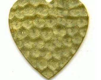 Brass stamping, 24mm x 23mm flat hammered brass heart, 24 gauge, bb-21