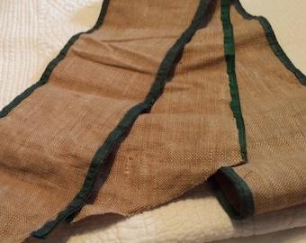 Antique woven linen ribbon with green silk edge