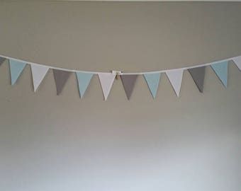 Fabric bunting flags pastel blue, grey/gray and white