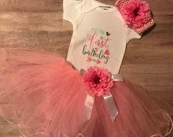 pink and mint first birthday outfit