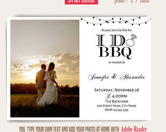 I do bbq invitation, printable wedding invitation, Wedding templates, Instant download Self editable PDF A645