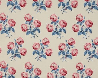 """Colefax and Fowler classic """"Bowood"""" floral pillow cover in soft blue and red"""
