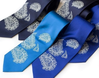 Custom wedding groomsmen ties. 6 wedding neckties. Men's accessories group discount, matching screenprinted vegan-safe microfiber ties.