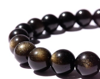 Gold Obsidian Bracelet Therapeutic Gemstone