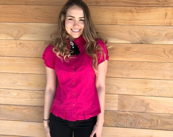 Hot pink fitted button up shirt