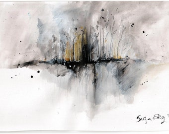 Abstract painting - 8x12 ink painting canvas sheet- early spring
