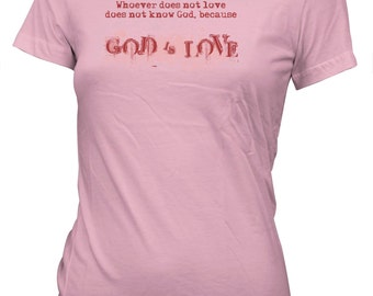 Aprojes God is Love Heart Valentine's Day T-Shirt for juniors