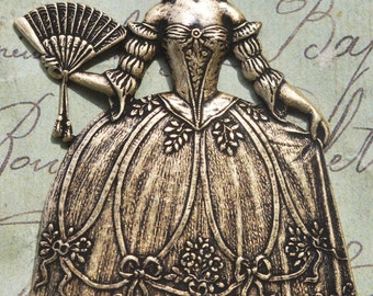 Marie Antoinette brass stamping, brass ox, Stampings made in the USA for jewelry making and crafting