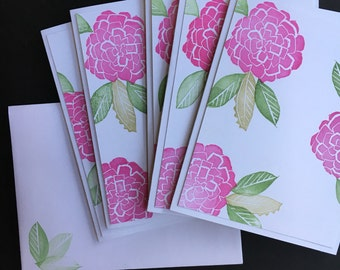 Pink zinnia hand stamped note cards - A2 - 4 1/4 X 5 1/2