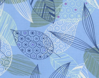 Leaves on Blue ~ Flutter Collection ~ 100% QSQ Cotton by RJR Fabrics