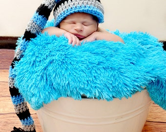 Long Tail Stocking Hat/football/Carolina Panthers (fits 0-3, 3-6, 6-9, 9-12 months, 1-3 years, 4-12 years, Adult)