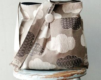 Grey Cloud Diaper Bag - Adjustable Strap - 9 pockets