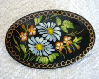 Russian Black Lacquer Floral Pin - Hand Painted Russian Brooch - Vintage Russian Brooch - Russian Pin