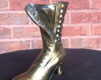 Vintage Brass Plated Victorian Boot Planter ENIG 1624