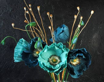 Teal poppies Paper flowers
