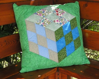 Quilted Cube Pillow Cover in blue and green