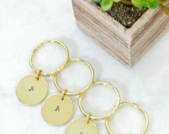 Initial Monogram Brass Keychain Hand Stamped