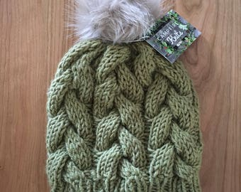 Pine Braided Cable Beanie