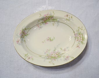Vintage Theodore Haviland Apple Blossom Oval Vegetable Bowl New York Pink Floral Gold Rim Replacement Wedding Bridal PanchosPorch