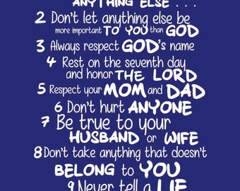 """The Ten Commandments for Kids - Wall Quotes Canvas Banner - Navy Blue - 12x18"""""""