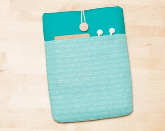 iPad sleeve, iPad Pro 10.5 cover, iPad case, iPad Air sleeve - Turquoise lines in teal -