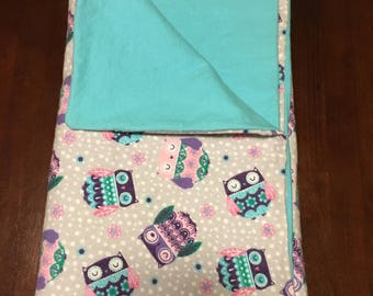 Twinkleblandy Soft Owl and blue baby blanket