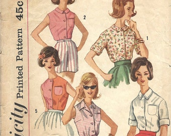 1960's Simplicity Sewing Pattern No. 3745 - Front Button Blouse with Pocket , Sleeves or Sleeveless Summer Blouse  Bust 34