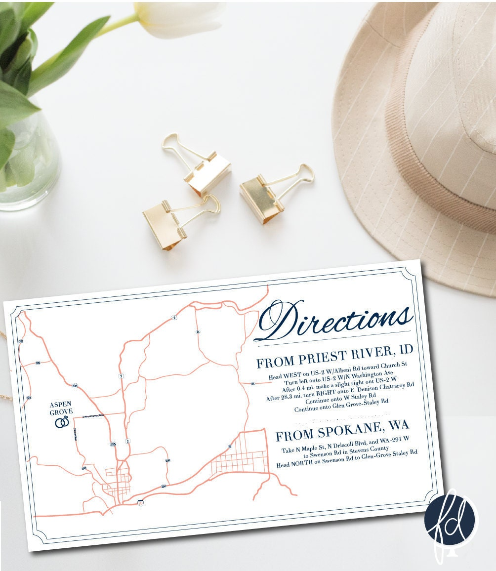 Directions Card, Custom Wedding Map, Details Card, Invitation Map ...