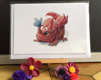 Little Red Dragon with Butterfly  Greeting Card Blank Inside
