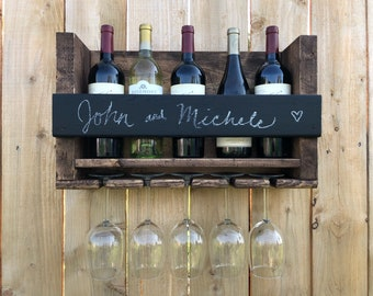 Personalized Wine Rack Wall Mounted, Wine Bottle rack, Wedding gift wine rack, personalized wedding gift,  house warming gift, rustic gift