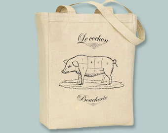 French Vintage Boucherie Butcher Cochon Pig on Canvas Tote - Selection of sizes available, image in ANY COLOR