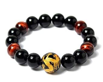 Dragon Engraving Obsidian and Tiger Eye Meditation Bracelets 12mm