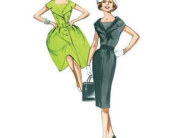 Retro 1960's Dress Pattern - Butterick B5747 Sewing Pattern, Misses / Misses Petite 1960 fitted or flared dress, US Sizes: 8 - 16 or 16 - 24