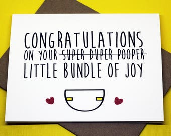 Congratulations On Your Super Duper Pooper Little Bundle Of Joy Baby Shower Expecting Funny Greeting Card
