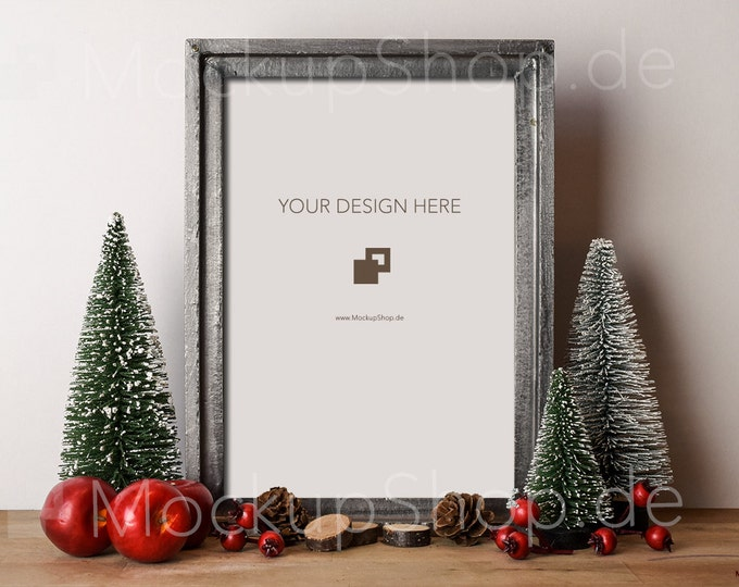 FRAMe MOCK UP CHRISTMAS antique silver / Frame Mock up Christmas vintage / Merry Christmas Mock up / Merry Xmas Frame Mock up /Mock up