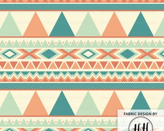 Southwestern Tribal Geometric Fabric by the Yard - Soft Color Triangles and Shapes Baby Nursery Print in Yard & Fat Quarter