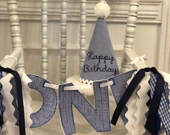 Navy Happy Birthday Hat and ONE Banner