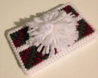 Christmas Present with Pom-pom Gift or Business Card Holder, Plastic Canvas