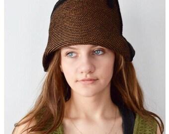 Vintage 1920s Style Hat, Cloche Hat, Brown Hat, Ladies Brown Cloche Hat, Eric Javits Hat, 1990s Hat