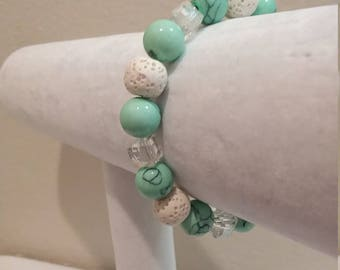 Glass and Lava Rock Aromatherapy Diffuser Bracelet - Teal and White