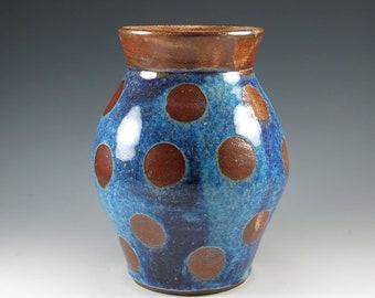 Handmade Vase, Ceramic Flower Vase, Wheel Thrown Orange and Blue Home Decor, Pottery Vase, V102
