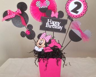 Minnie  Mouse Happy Birthday Centerpieces, Minnie Mouse Birthday Decorations/Minnie Mouse Party.  Minnie Mouse Party Decorations.