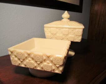 Vintage Two Pedestal Compote of Westmoreland Milk Glass Milk Glass, Square Compote with Lid and without Lid