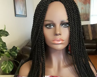 Braided wig, Twists, black, 24in