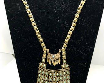 Vintage Gorgeous Gold and Turquoise Fringe Necklace