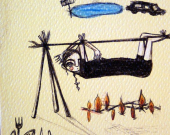Pardons-high quality printing, recycled wood cornicetta, ribbon, ready to hang, woman on skewer, carnivorous fish, ironic art