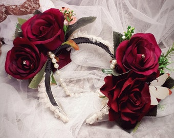 Burgundy and Cream Pearl flower floral crown. Vintage gatsby style. Asymmetrical with roses, butterflies and diamantes.