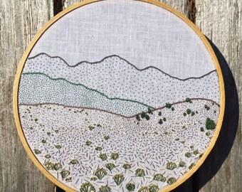 Sanctuary of Chimayo embroidery hoop art