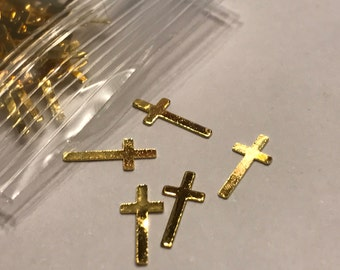50 metal gold cross nail decals 4 x 9 mm (S11/3)
